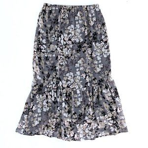 COUNTERPARTS Women's Floral Ruffled Maxi Skirt M